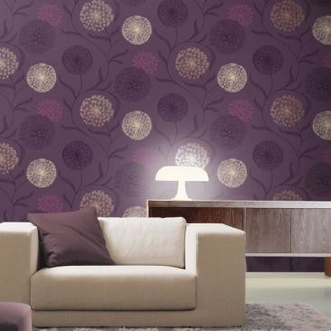 Feature wall interior design help netmums chat for Purple wallpaper for walls
